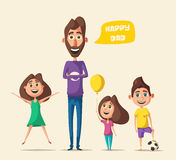 Dad and children character. Cartoon vector illustration. Happy father, friendly kids. Positive emotions. Beautiful family Royalty Free Stock Images