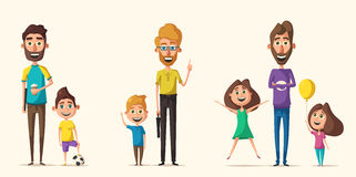 Dad and children character. Cartoon vector illustration. Happy fathers, friendly kids. Positive emotions. Beautiful family Royalty Free Stock Images