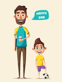 Dad and children character. Cartoon vector illustration. Dad and kid character. Cartoon vector illustration. Happy father, friendly child. Positive emotions Stock Photography