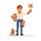 Dad and children Stock Photography