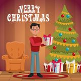 Dad in christmas cartoon. Icon vector illustration graphic design Stock Photography