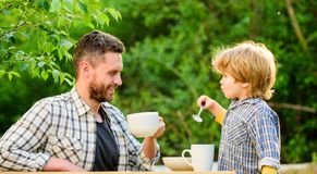 Dad and cute toddler boy having lunch outdoors. Child care. Feeding son natural foods. Feed in right way for childs. Stage of development. Feed son solids. Feed stock photos