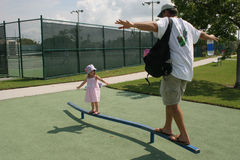 Dad with daughter. In park Royalty Free Stock Photography