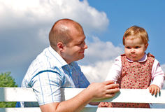 Dad and daughter. Happy family, dad and daughter  in the park Royalty Free Stock Photo