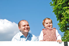 Dad and daughter. Happy family, dad and daughter  in the park Royalty Free Stock Photos