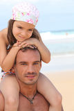 Dad and daughter at beach Stock Photos