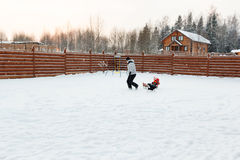 Dad daughter and dog sledding in backyard Stock Photography