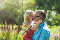 Dad and daughter family happy joy in nature Stock Images