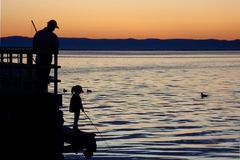 Dad and daughter on a fishing trip Stock Photography