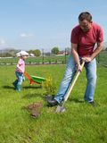 Dad and daughter gardening Stock Photo