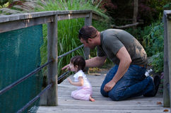 Dad and daughter nature study Royalty Free Stock Photos