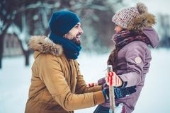 Dad with daughter outdoor in winter stock photography