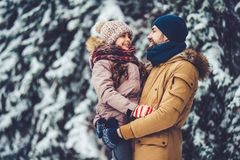 Dad with daughter outdoor in winter royalty free stock photography