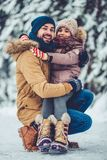 Dad with daughter outdoor in winter royalty free stock photo
