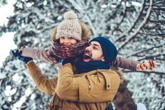 Dad with daughter outdoor in winter royalty free stock images