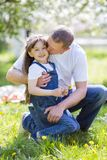 Father hugs his little daughter. stock images