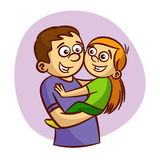 Dad and daughter smiling. Vector illustration Stock Photo