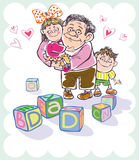 Dad and daughter and son. Dad and daughter in her arms and her son. posted on the dice, my Dad Royalty Free Stock Images