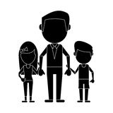 Dad with daughter son holding hands pictogram. Vector illustration eps 10 Royalty Free Stock Photo