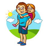 Dad and daughter walking. Clipart royalty free illustration