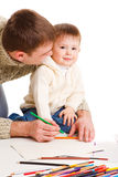 Dad drawing with son Royalty Free Stock Photo