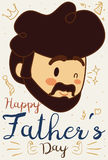 Dad Face with some Doodle Drawings for Father`s Day, Vector Illustration. Poster with cute dad face winking at you in Father`s Day celebration and some cute royalty free illustration