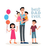 Dad and the family. Cartoon characters of family. Dad and his children celebrating father`s Day. Inscription Best dad ever Stock Image