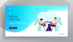 Dad Feed Son in Special Baby Chair. Father Engaged in Raising Child. Little Boy Having Breakfast with Daddy, Happy Family. Website Landing Page, Web Page vector illustration