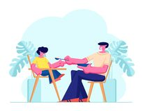 Dad Feed Son with Spoon, Boy Sit in Special High Baby Chair. Father Engaged in Raising Child. Boy Having Breakfast with Daddy. Dad Feed Son with Spoon, Boy Sit vector illustration