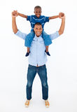 Dad giving son piggyback ride Royalty Free Stock Photo