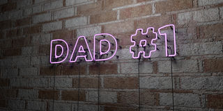 DAD  1 - Glowing Neon Sign on stonework wall - 3D rendered royalty free stock illustration Stock Photography