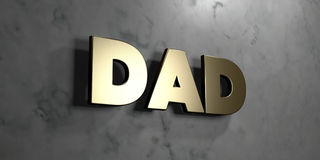 Dad - Gold sign mounted on glossy marble wall  - 3D rendered royalty free stock illustration Royalty Free Stock Photos