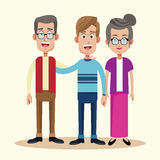 Dad with grandfather and grandmother relation Royalty Free Stock Photo