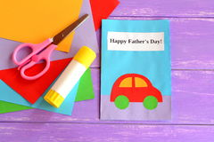 Dad greeting card. Happy dad's day greeting card. Happy father's day wishes. Children's handmade paper crafts Stock Photography