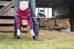 Dad  hanging boy upside down Royalty Free Stock Image