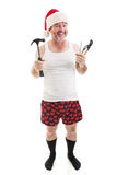 Dad Has Tools for Christmas. Father ready with tools to assemble Christmas presents for the kids. Full body isolated on white stock photo