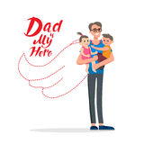 Dad is hero. Cartoon characters of family. Dad and his children celebrating father`s Day. Inscription Dad is my hero Royalty Free Stock Photography