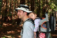 Dad hiking with baby girl Stock Photo