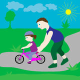 Dad with his daughter and a bicycle. Royalty Free Stock Image