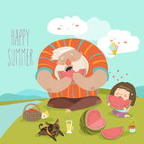 Dad and his daughter eating watermelon on picnic. Vector illustration Royalty Free Stock Images