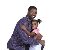 Dad and his daughter. Dad and his preschool daughter on white Stock Image