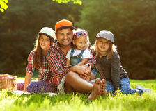 Dad and his 3 daughters Royalty Free Stock Photo