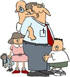Dad With His Kids stock illustration