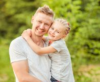 Dad Holding Little Daughter Royalty Free Stock Photography