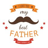 Dad holiday or Fathers day isolated icon family member or parent love. And appreciation vector retro mustache and heart daddy greeting and congratulation emblem vector illustration