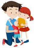 Dad hugging his children. Illustration stock illustration