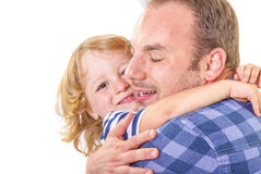 Dad hugging his little son. Father hugging his little son with love on white background Royalty Free Stock Photography