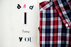 Dad I Love You Letters and Shirt Royalty Free Stock Image