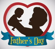 Dad Inside a Heart with his New Born Baby, Vector Illustration. Silhouette of a loving brunette dad inside a heart with his baby in arms high up and a greeting Stock Images