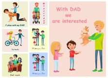 With Dad we are interested posters set of vector Stock Image